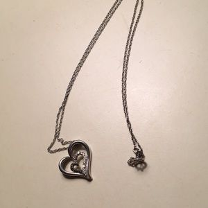 Heart necklace with black diamonds